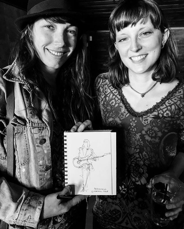 ❤️ Thank you @j.charboneau  for the lovely gift of an original drawing inspired by our song #Presentation live at @offbeatfest 🙏 Hanging up in our practice space!