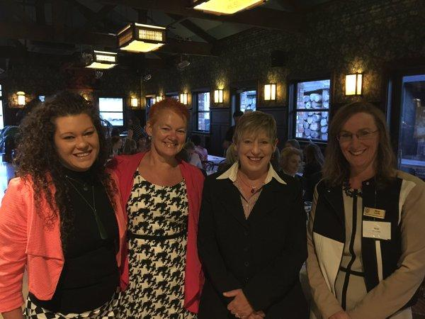 Keynote speaker, Sacha McMeeking with Helen Leahy, and Christchurch Mayor Lianne Dalziel at International Women's Day