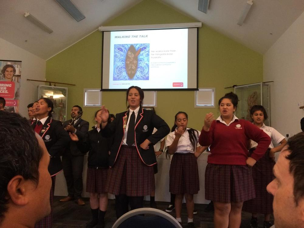 Wharekura students at the launch of Project Kāmehameha