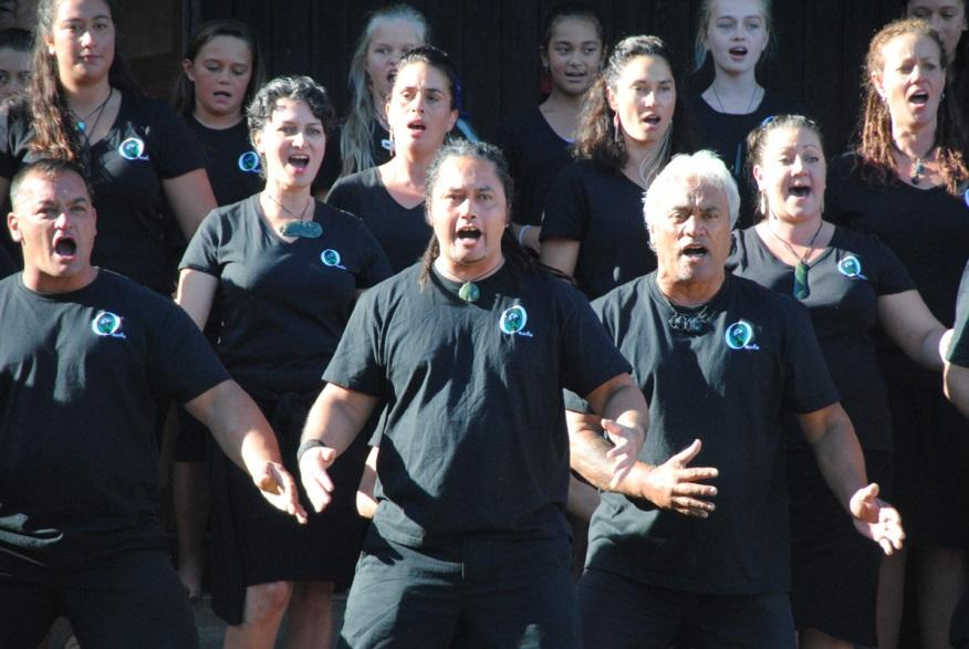 The whānau from Ōnuku during the pōwhiri on Waitangi Day