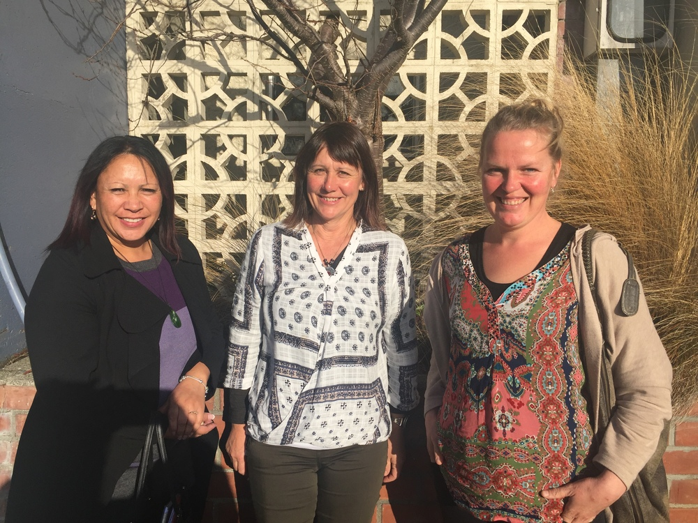 Vania Pirini with Roseanne Allen (middle) and Sharon Hampton from the Tuatapere team