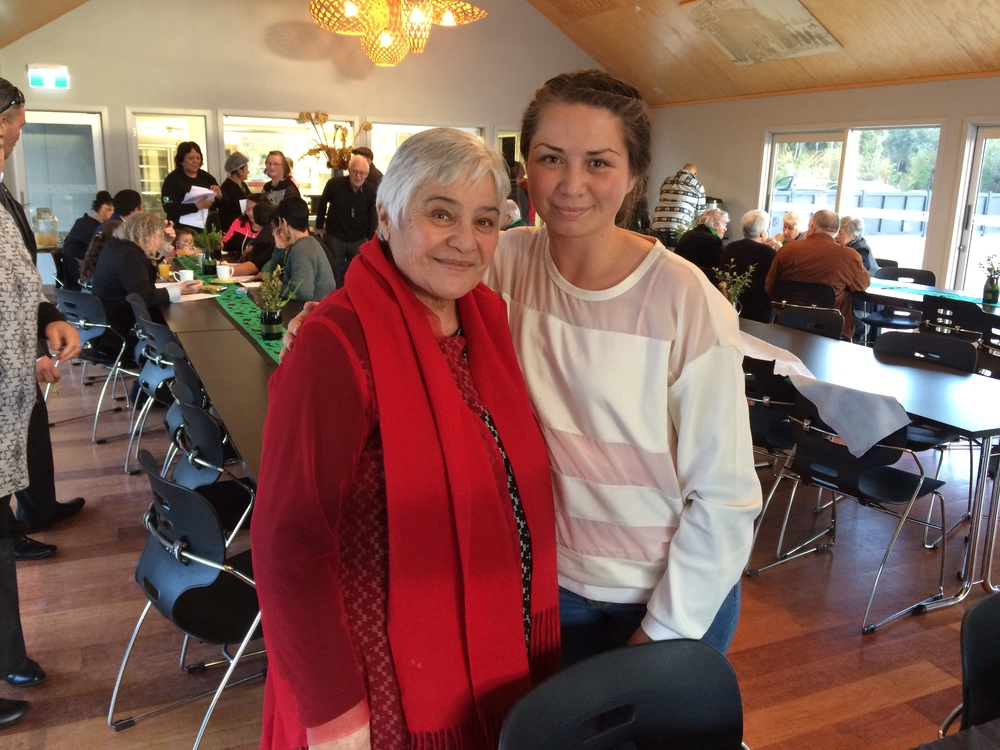Dame Tariana and Luana Harrison, in the warmth of the marae at Arahura, Hokitika