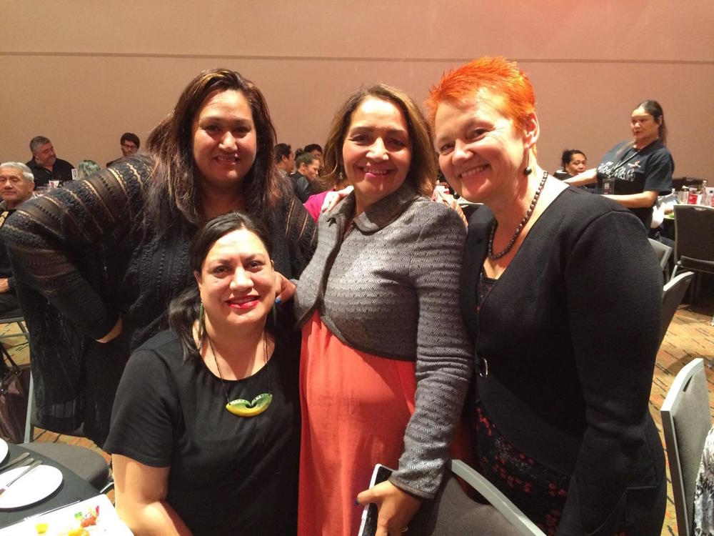 Attending Te Pou Matakana conference this week: Helen Leahy, Marama Fox, (MP for the Māori Party), Cazna Luke and Maania Farrar.