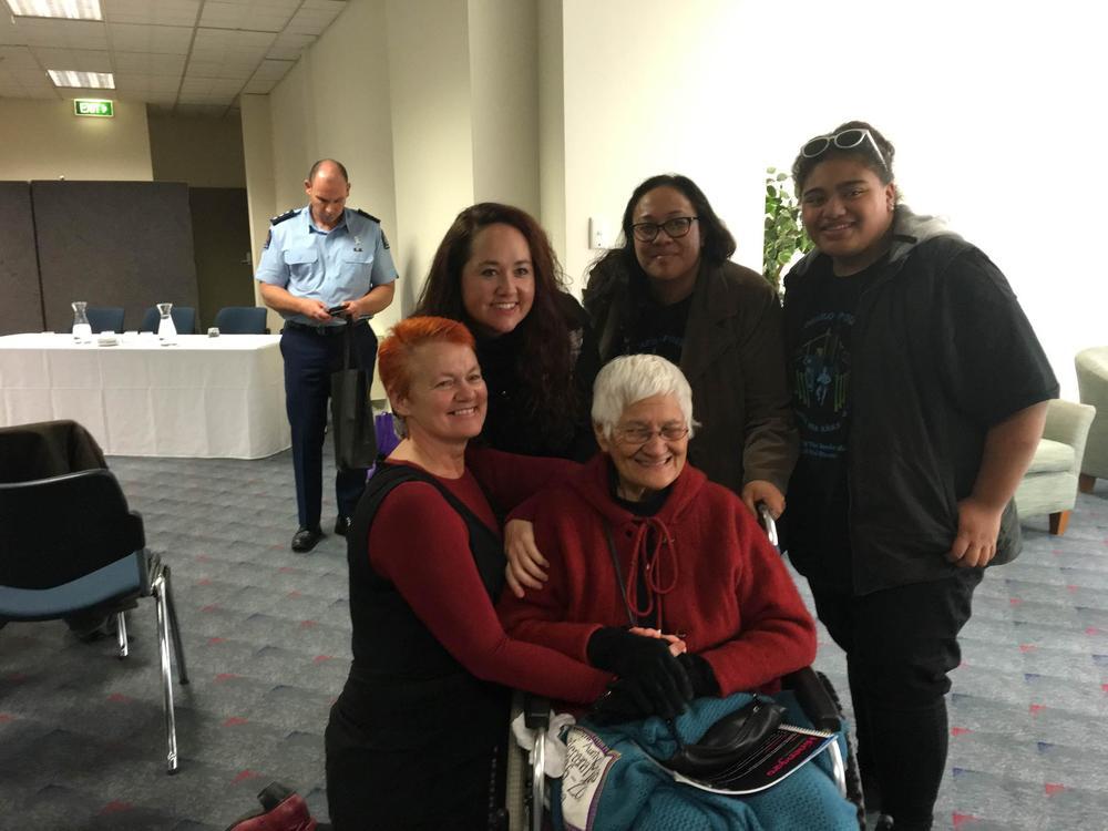 Helen Leahy (Te Pūtahitanga); Superintendent Tusha Penny (Police); Ariana Mataki-Wilson (Te Whare Hauora); 16 year old shining star, Cheyenne Aiono and in front the legendary Aunty Kiwa Hutchens at Tū Pono in Dunedin.