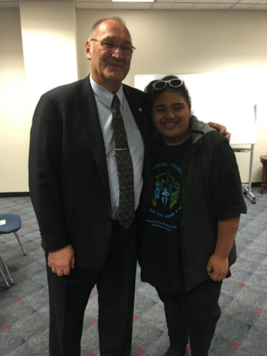 Cheyenne Aiono with Tā Mark Solomon