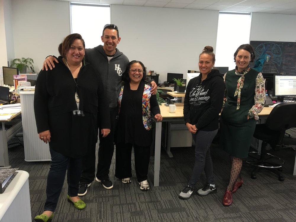 Cazna Luke (Mokowhiti); Korey Hale, Maire Kipa, Manu Hale (HCC) and Dottie Morrison.
