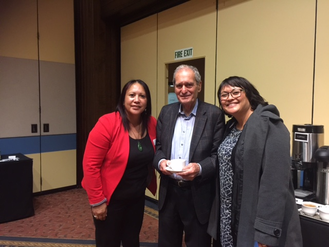 Vania Pirini (Contract Advisor); Professor Sir Mason Durie and Trei Williams Aurora High Schools Resource Teacher of Learning and Behaviour at Ascot Hotel in Invercargill this week