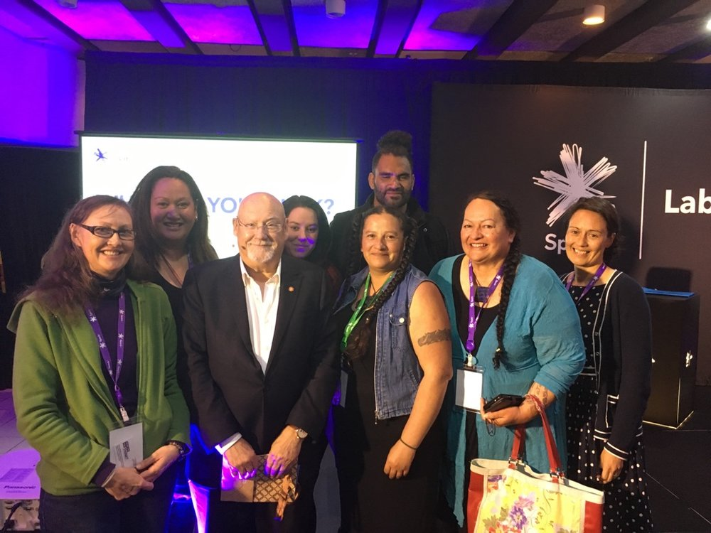 Participants from Te Pāpori o Whakatere with Sir Ray Avery at breakfast at the Hagley Atrium