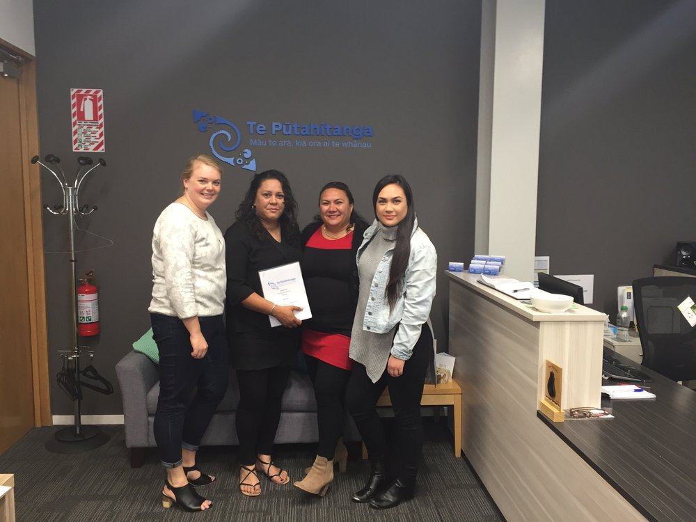 Alice Matheson (L) and Rongo Baker ( R) from Te Pūtahitanga o Te Waipounamu with Amy Burke and Tania Mulvaney from Help for the Homeless after signing their contract on Friday.