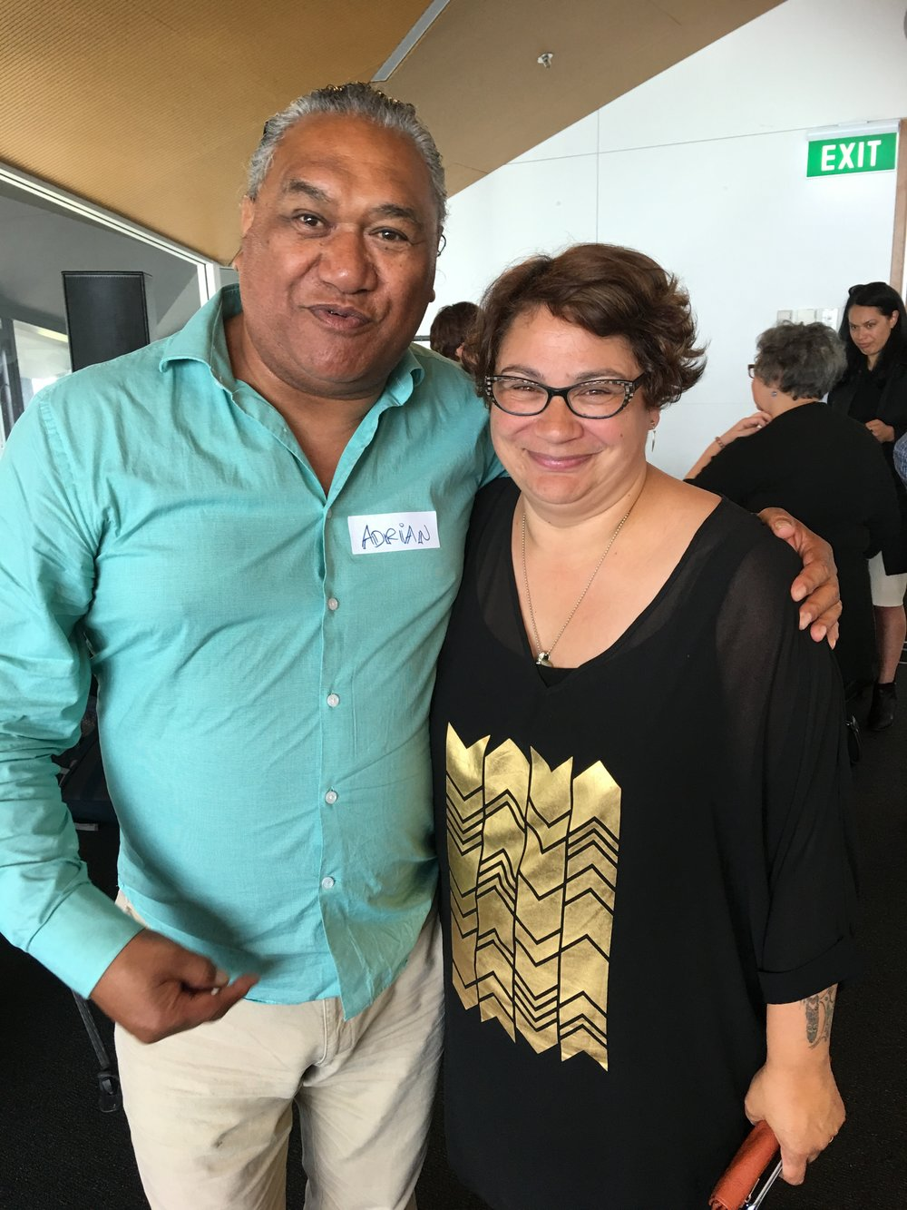 Adrian Te Patu, from the Public Health Association with Metiria Turei, Tu Rangatira mo te Ora