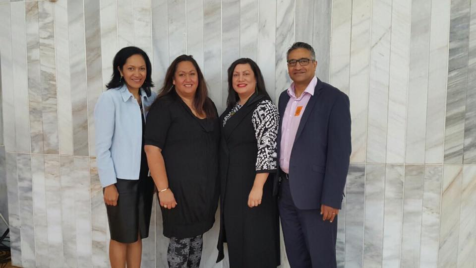Representatives of our GPL Board, Parekawhia McLean and Donovan Clark, on either side of two wahine toa – our Whānau Ora champion, Cazna Luke and Commissioning Manager, Maania Farrar.