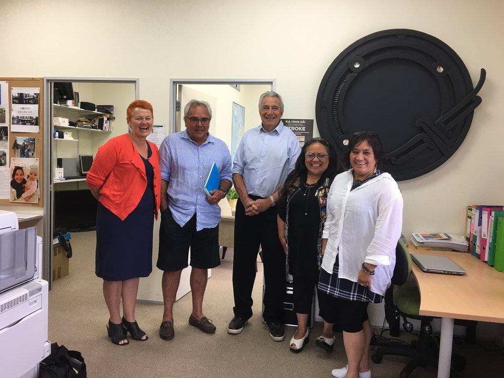 Alongside of Ricky Carr (Manager); Professor Mantell, Maire Kipa and Philomena Shelford from Waihōpai.