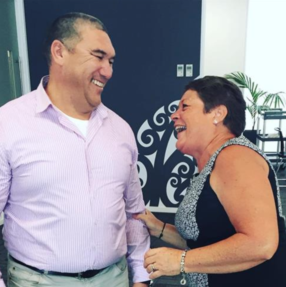 Pari Deacon Hunt sharing a first day joke with our office manager, Juli Tyler