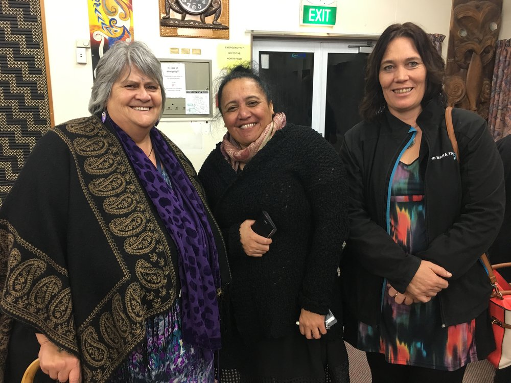 Karen Brown, Beatrice Brown and Jackie Burrows – in good heart at the Tū Pono supper
