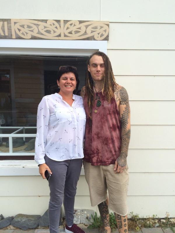 Gina Lee Duncan with Hayden Ryland-Parata at Te Awhina Marae
