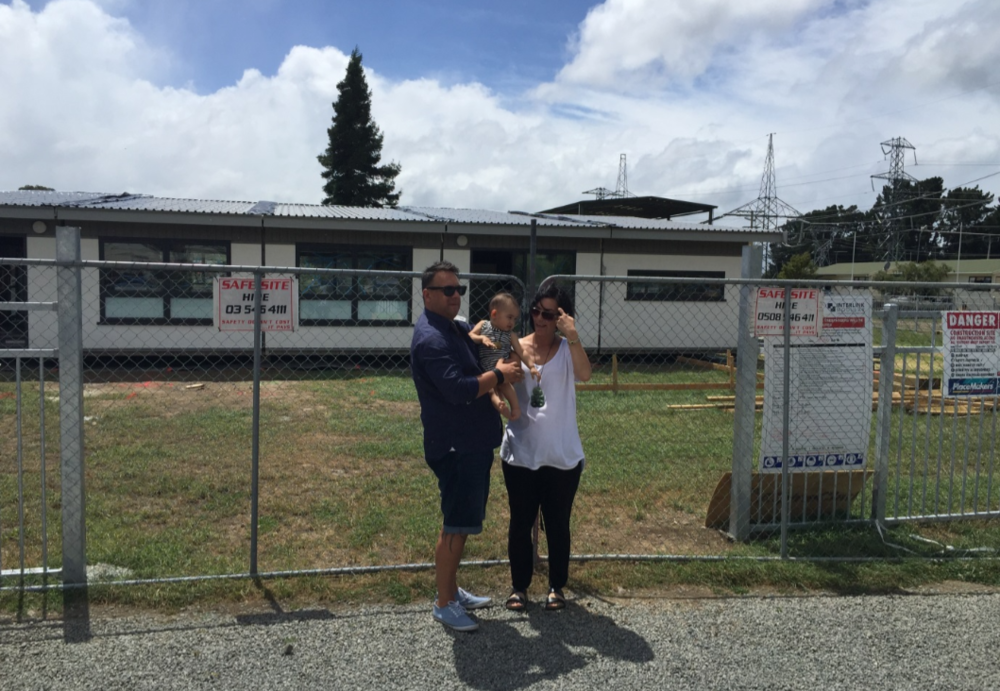 Kylie and Donna Nepia in front of the buildings in which the new kura will take place.