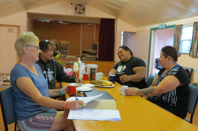 (from left to right): Secretary-Treasurer, Andrea Woodford, Garden Supervisor Moana Taana, Coordinator Mere Jouanides and regular, Cindy Spiers