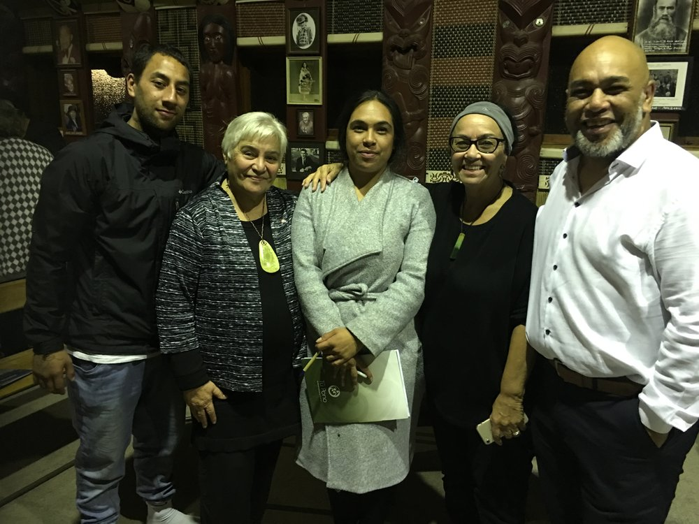 Whaea Tariana with the Dallas whānau – grandmother; father; daughter and partner……