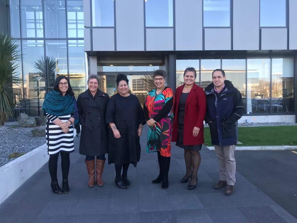 Whanau Ora review panel were hosted by Te Putahitanga o Te Waipounamu team on Friday at their offices in Christchurch.    Left to right Kim Ngarimu, Brenda Steele, Donna Matahaere –Atariki, Caren Rangi, Tania Hodges, Te Rau Kupenga.