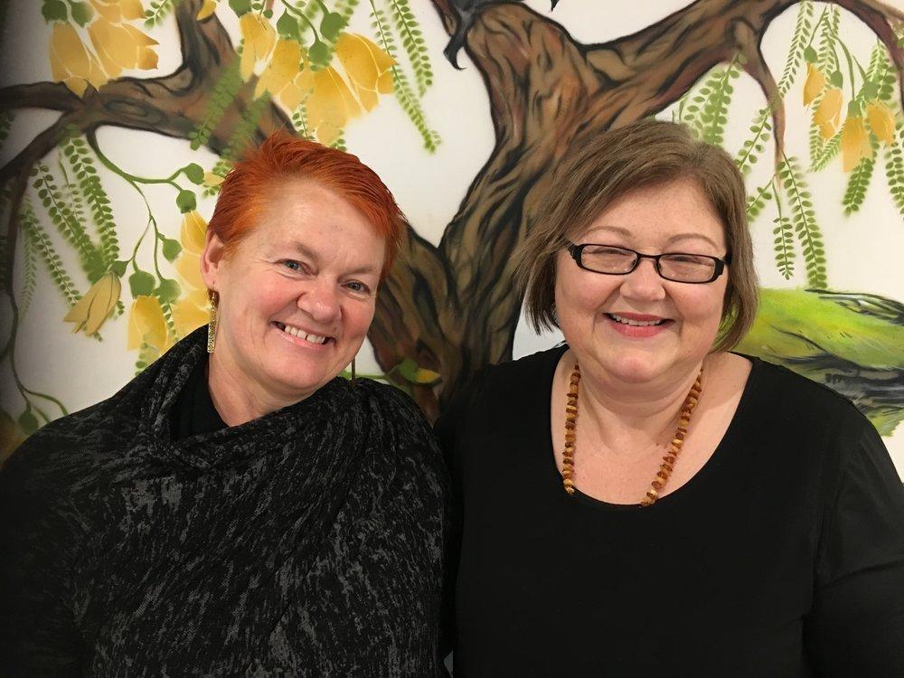 Helen Leahy and Tracey Wright-Tawha at Nga Kete Matauranga Pounamu Inc