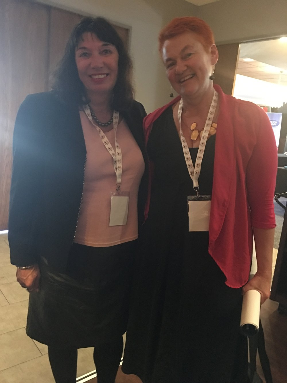 Helen Leahy with Dame Catherine Healy; the founder of the New Zealand Prostitutes Collective