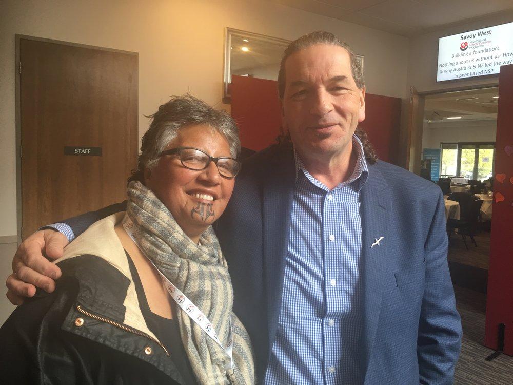 Moana o Hinerangi with Tuari Pokiti; Chair of the New Zealand Drug Federation