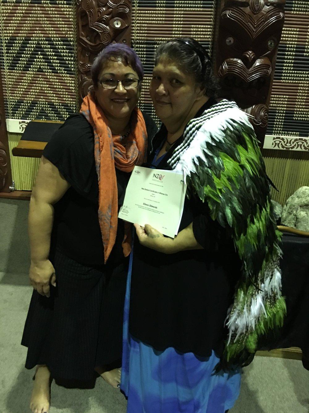 Louise Waho-Heather congratulating Eileen Edwards, graduate with a Certificate in Whānau Ora: