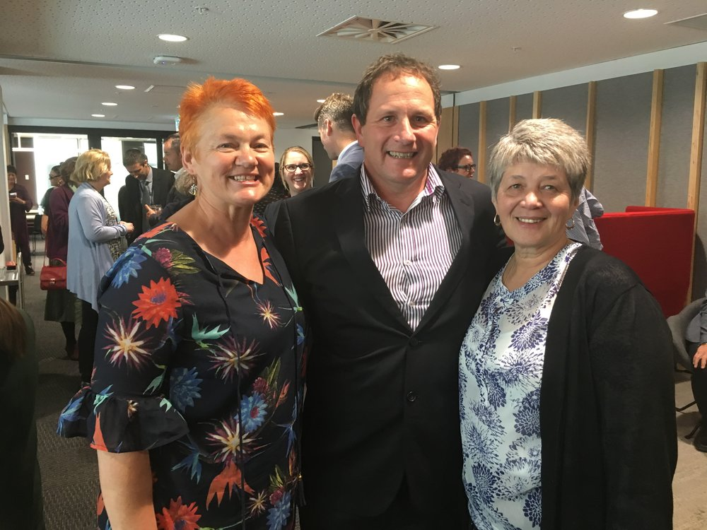 Helen Leahy with Grant Bennett the new Chief Social Worker and the first Māori Chief Social worker Shannon Pakura, who was Chief Social Worker from 1999 to 2007.