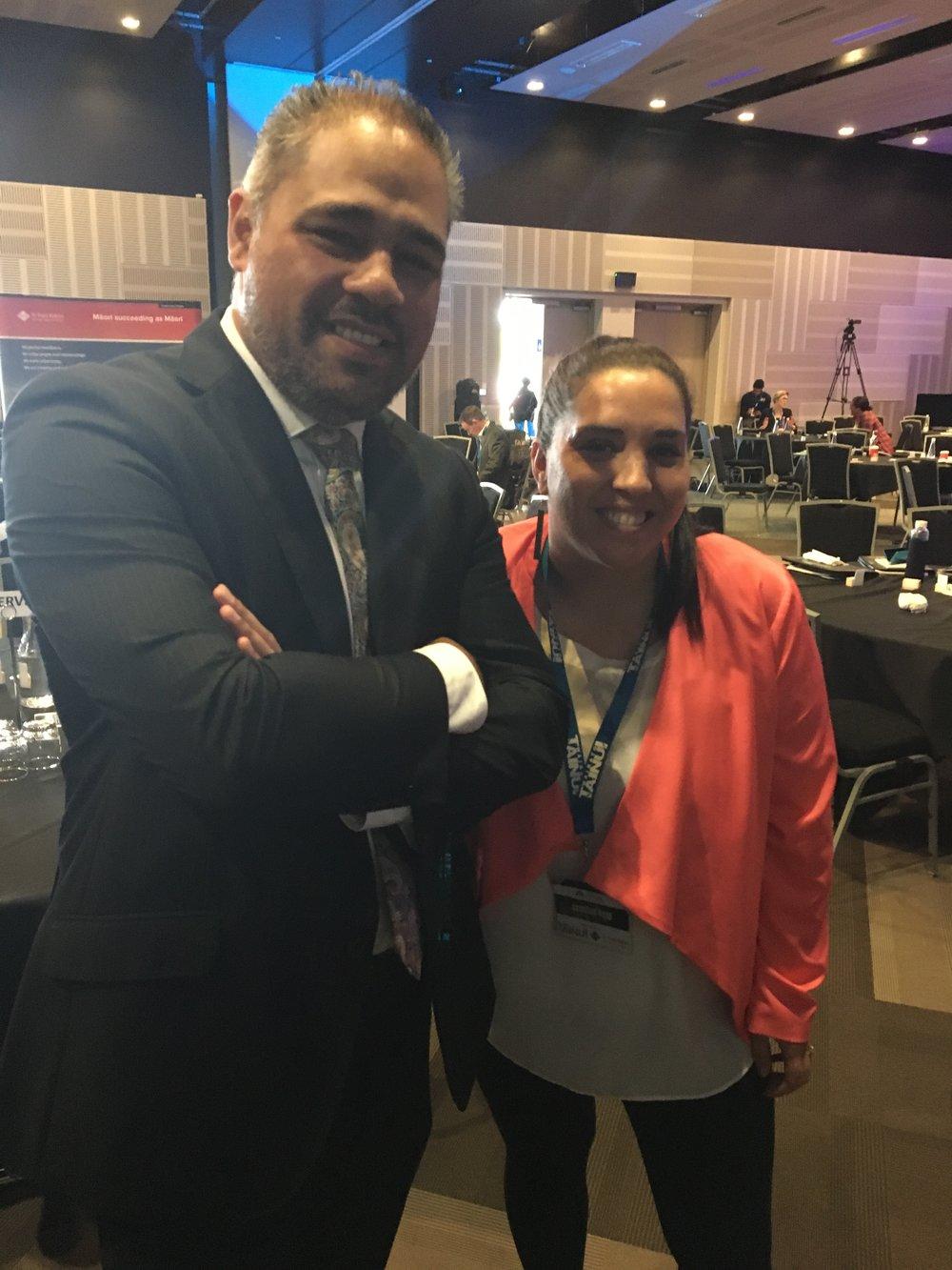 Jasmine Briggs with the Minister for Whānau Ora Hon Peeni Henare