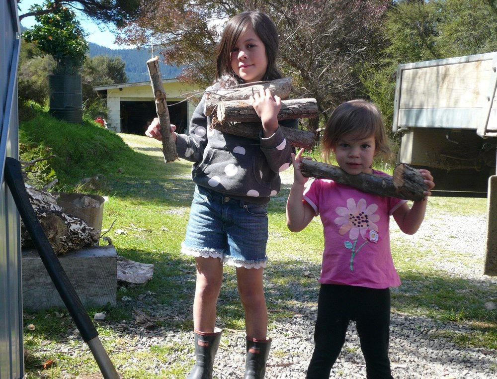 Sophie and Julia stacking Taua and Grandad's wood shed. Dec 2018.