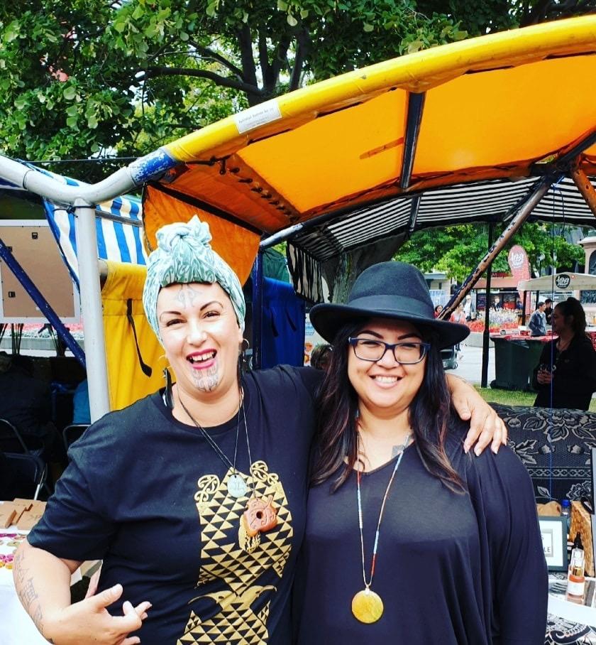 Chelita Kahutianui Zainey of Manaaki Mama with Tū Pono advocate, Marg Henry, at Victoria Square on Waitangi Day