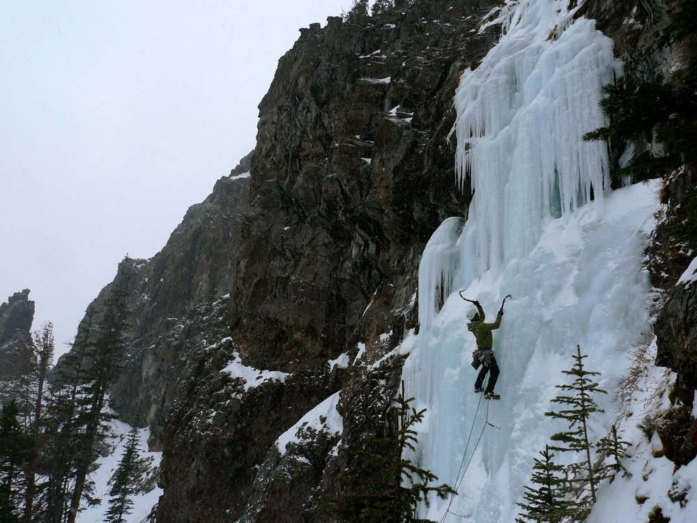 Land of the lost, WI4, Hyalite Canyon, MT. (Photo: Andy Tankersly)