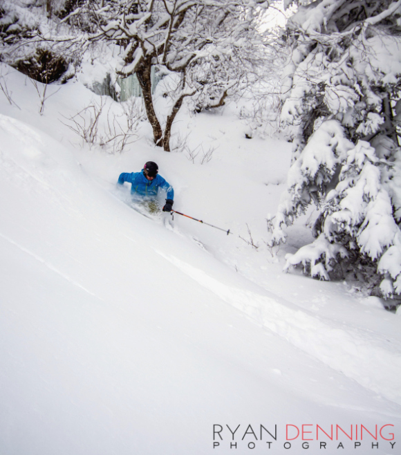 Photo: Ryan Denning  (Ryan Kinner keeping those toes warm and slashing cold pow!)