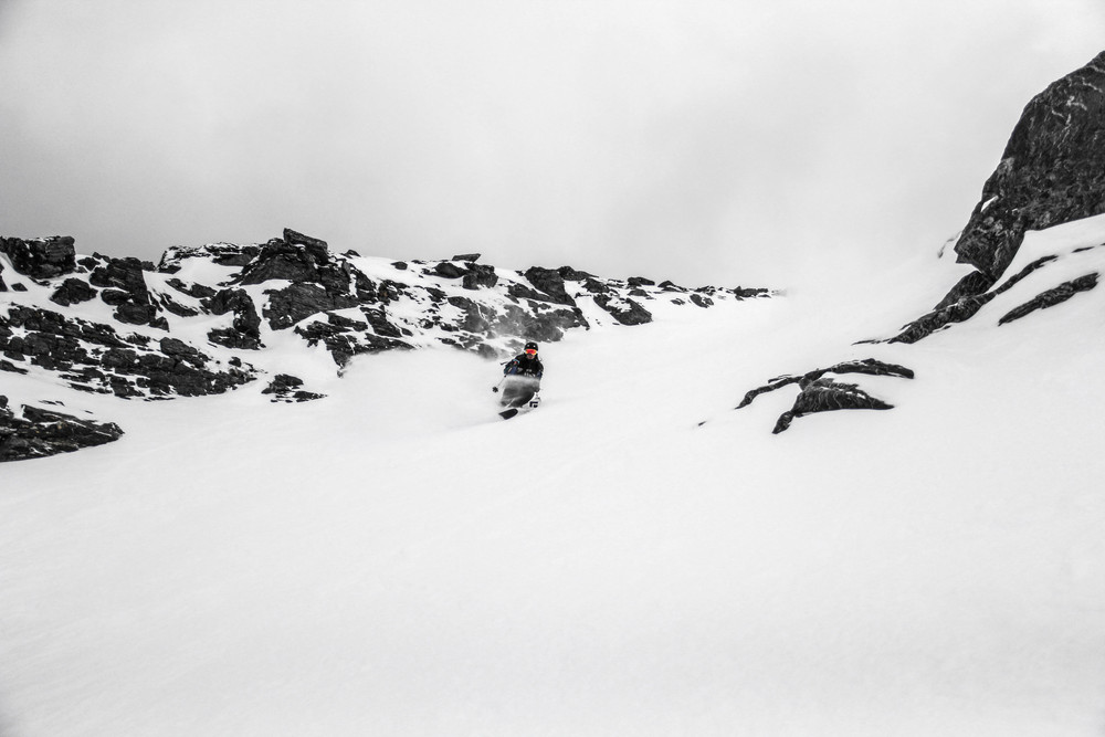 Dane Weister in the Alta Chutes at the Remarkables, NZ.