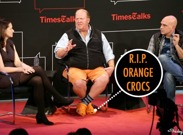 Mario Batali and His Love for Orange Crocs