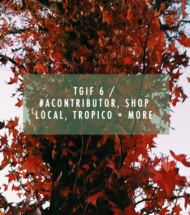 TGIF 6 / #aContributor, Shop Local, Tropico + More