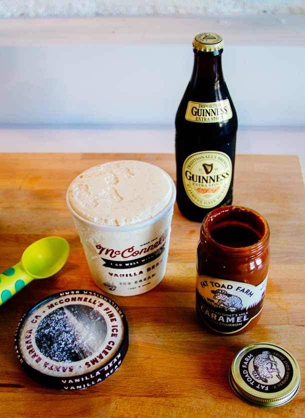 Fat Toad Farm Goat Milk Salted Bourbon Caramel, McConnell's Vanilla Bean Ice Cream, Guinness Extra Stout / Guinness Beer Floats Recipe / Bourbon and Goose