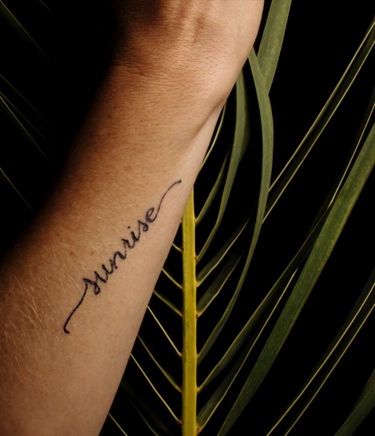 Tattoos: Calligraphy by Christie Jones / BourbonandGoose4