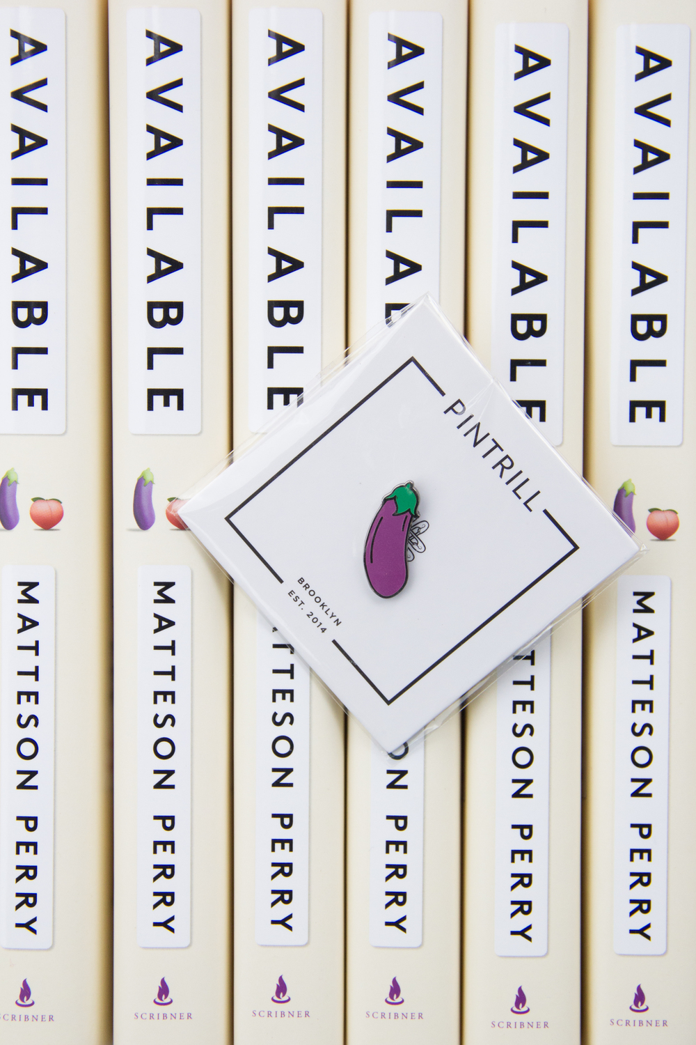 Eggplant Emoji Pin for the win! Matteson Perry's Available - A Memoir of Heartbreak, Hookups, Love and Brunch