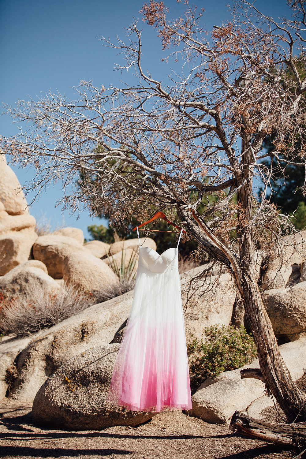 Pink Dip Dyed Wedding Dress from BHLD / Joshua Tree, CA