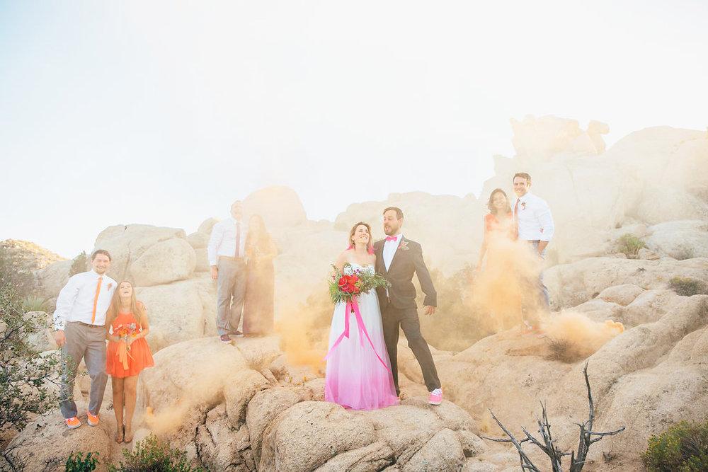 Wedding Party + Orange Smoke / Joshua Tree, CA