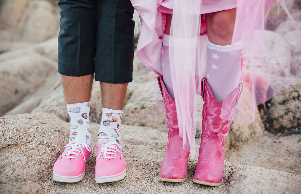 Wedding Details: HERS: Pink Boots HIS: Ron Swanson Socks / Joshua Tree Wedding