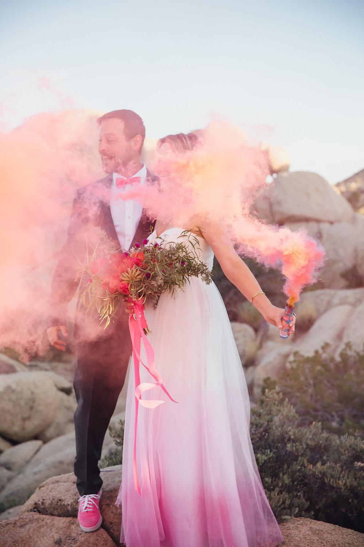 Pink Smoke / Joshua Tree Wedding