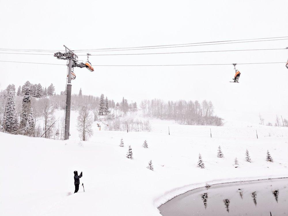 #TeamPixel member Isaiah getting a shot of the frozen lake   Photos taken on Google Pixel 3  Park City, Utah