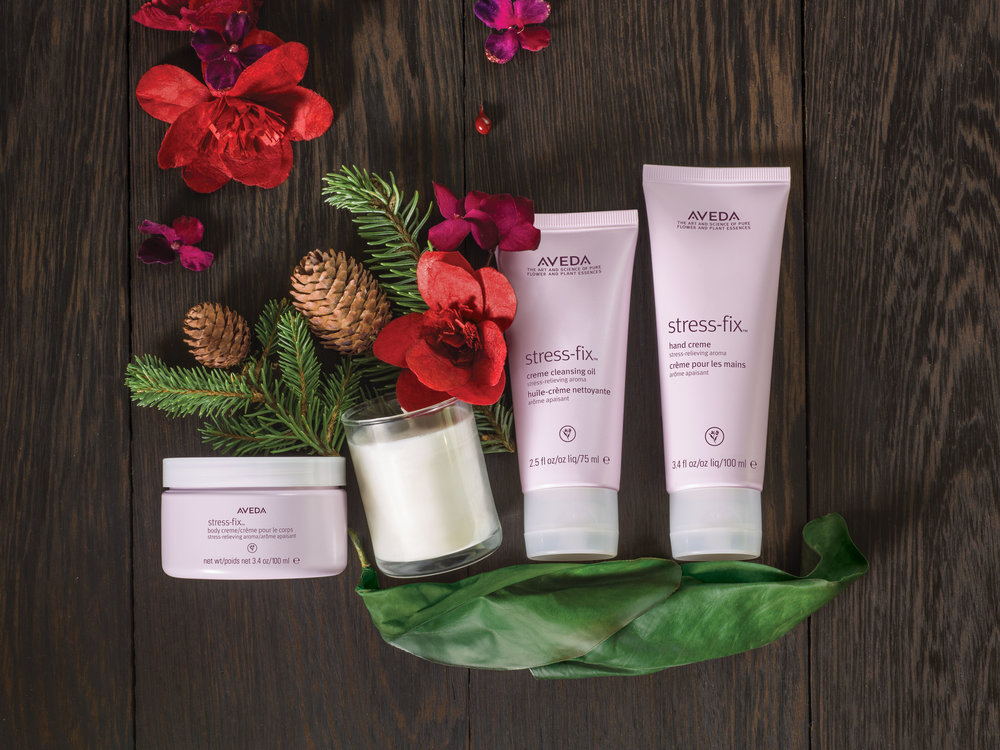 An Escape from Stress is a Gift: $79 stress-fix™ soy wax candle, 75 g stress-fix™ body creme 100, ml stress-fix™ creme cleansing oil, 75 ml stress-fix™ hand creme, 100 ml