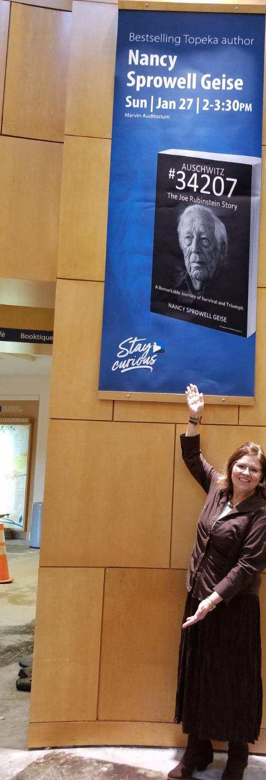 Miranda Ericsson and the staff at the Topeka & Shawnee County Public Library welcomed me with this awesome banner, Jan. 2019