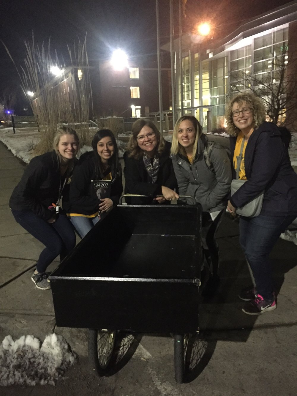 Awesome crew of helpers to help me load books at Emporia State University presentation (Emporia, Kansas) Union Activities Council (Feb. 2019)