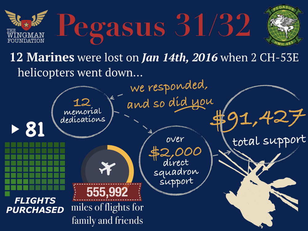 This infographic shows just how much support TWF was able to provide after the Pegasus 31/32 mishap