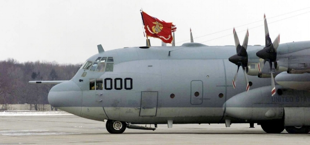 050225-M-The first of four KC-130T carrying the Marines of VMGR-452 taxis on the runway before arriving at the hangar in Newburgh. .jpg