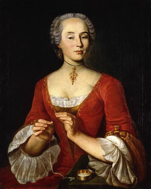 Portrait of a Woman Stringing a Pearl Neckalce , 1745 Johann Ulrich Schellenberg